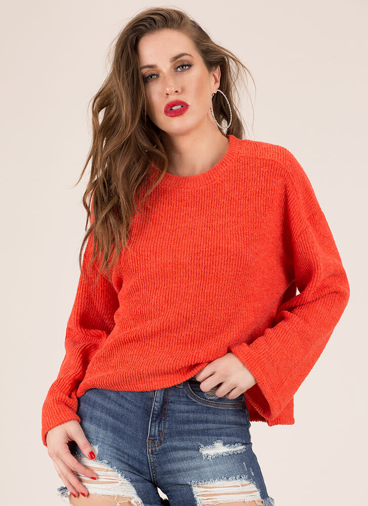 Pull One Over Rib Knit Sweater ORANGE