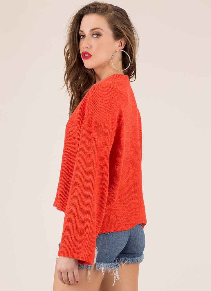 Pull One Over Rib Knit Sweater ORANGE (You Saved $19)