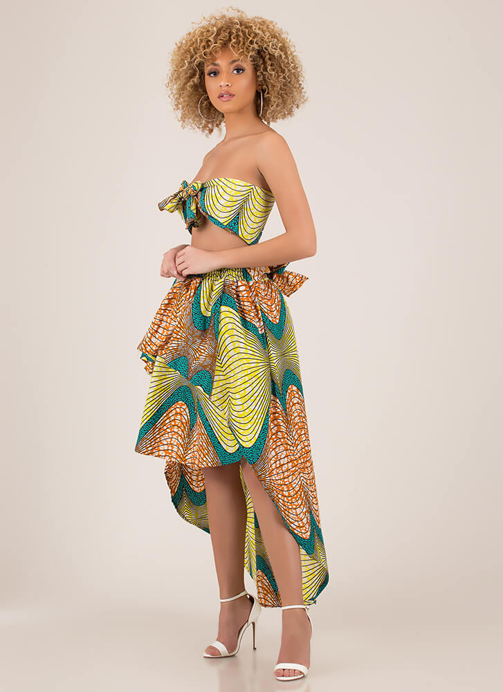 Find My Prints 2-Piece High-Low Dress TEALMULTI