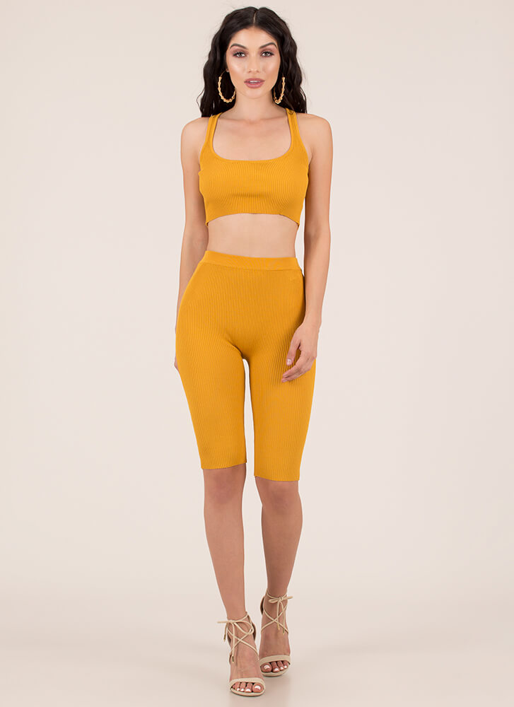Made For Me Ribbed Top And Shorts Set MUSTARD