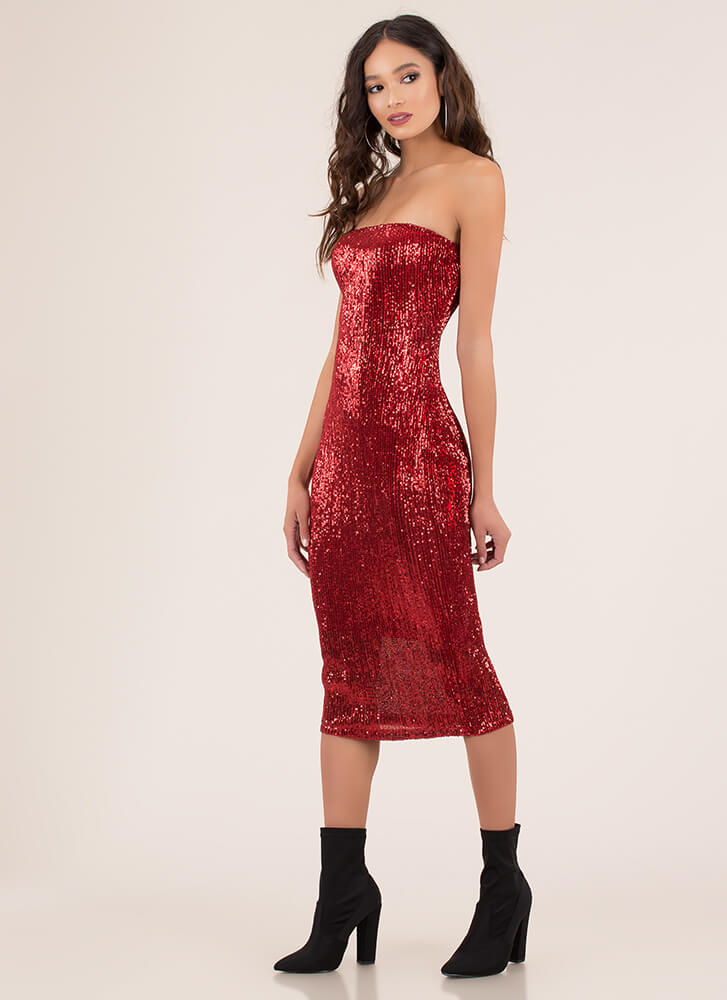 Special Sparkle Sequined Tube Dress RED