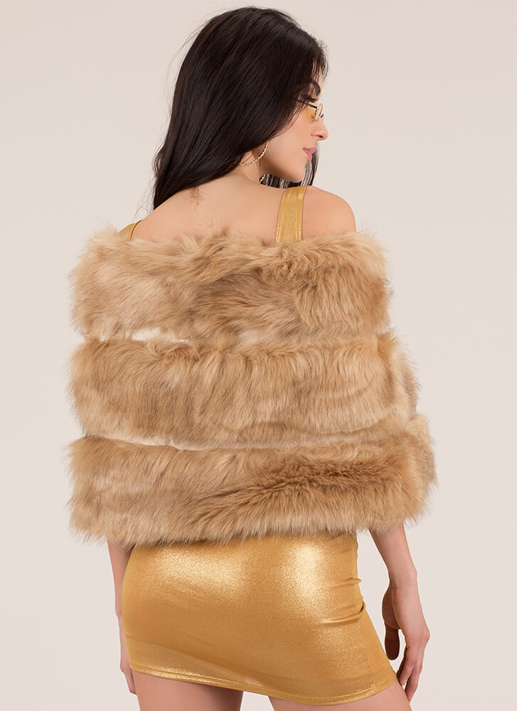 High Fashion Society Faux Fur Wrap CAMEL