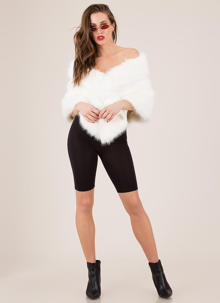 High Fashion Society Faux Fur Wrap IVORY