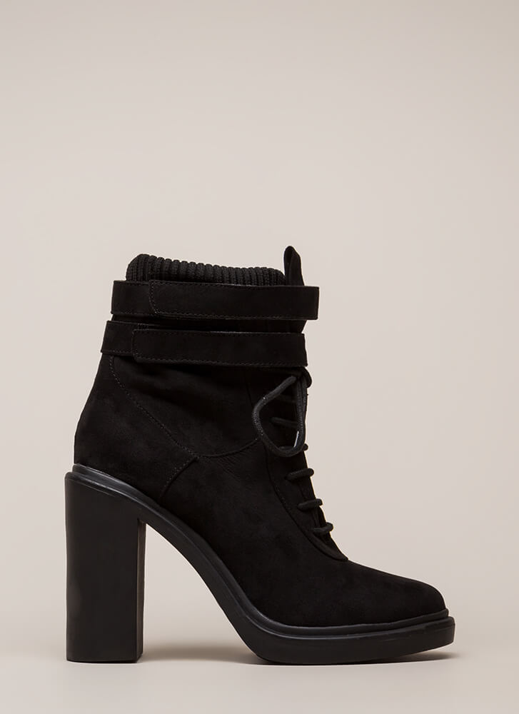 Sock It To Me Strappy Chunky Booties BLACK