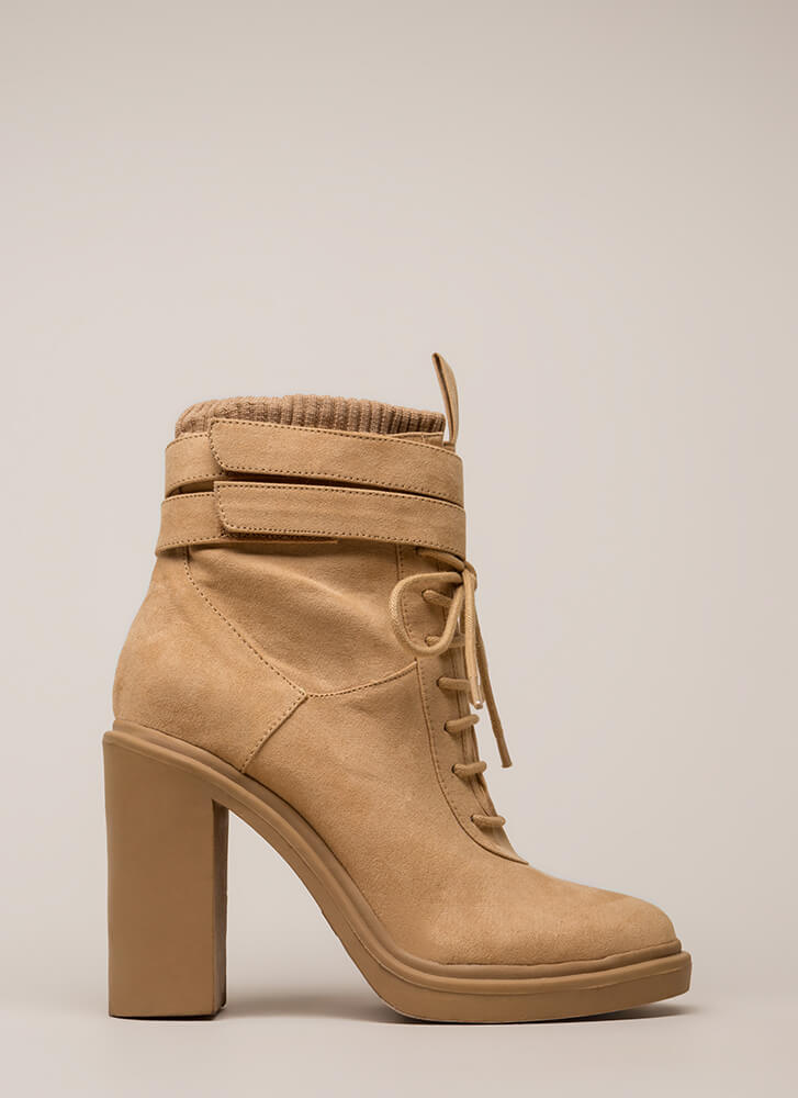 Sock It To Me Strappy Chunky Booties CAMEL