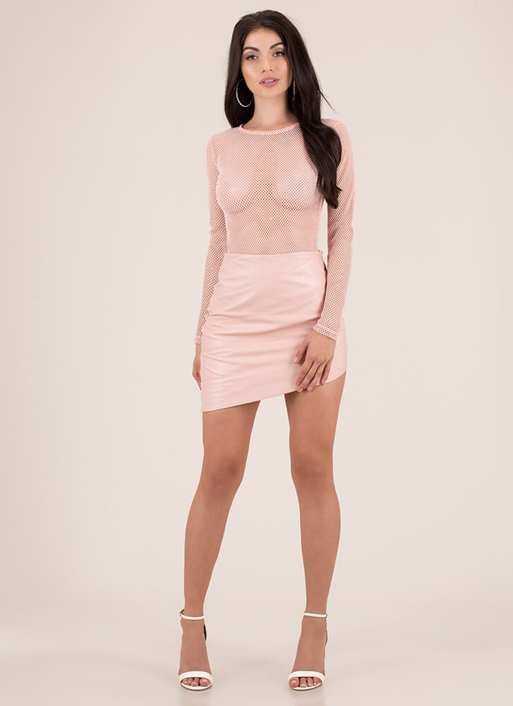 On A Diagonal Faux Leather Miniskirt PINK