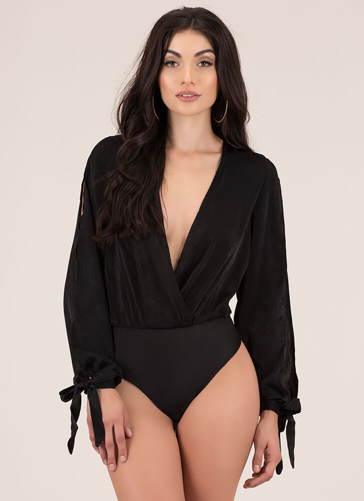New Blouse Plunging Tie-Sleeve Bodysuit BLACK