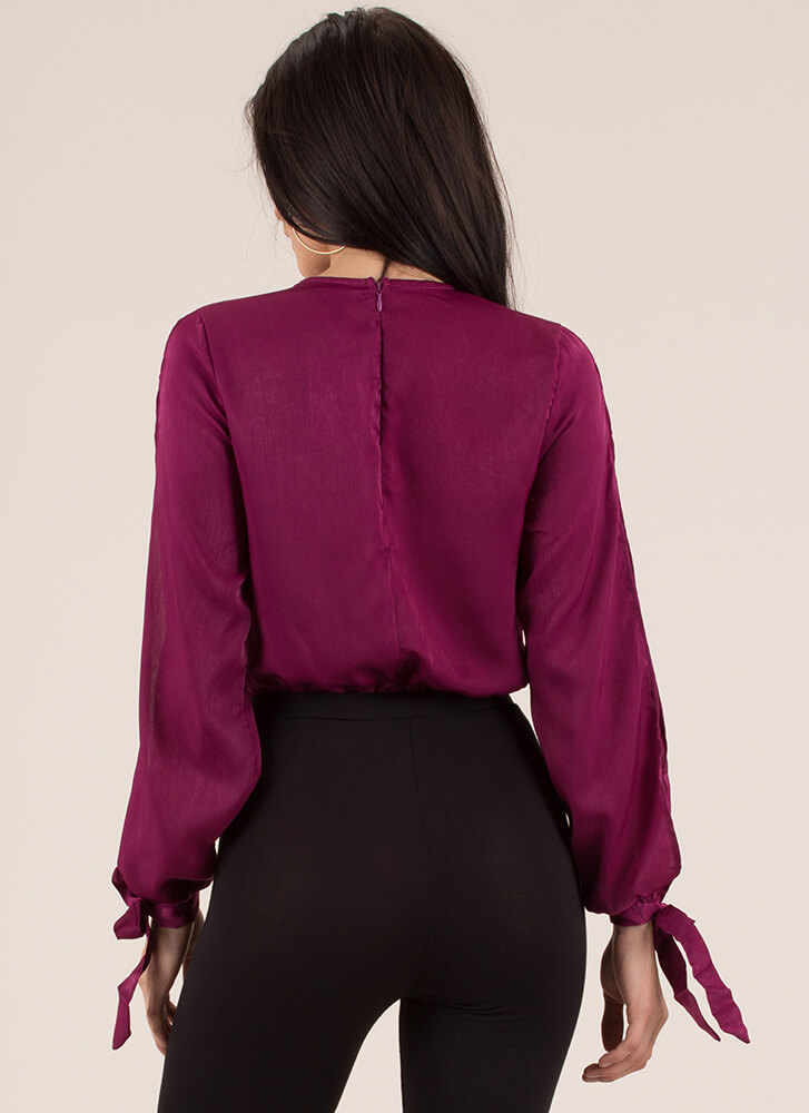 New Blouse Plunging Tie-Sleeve Bodysuit MAGENTA