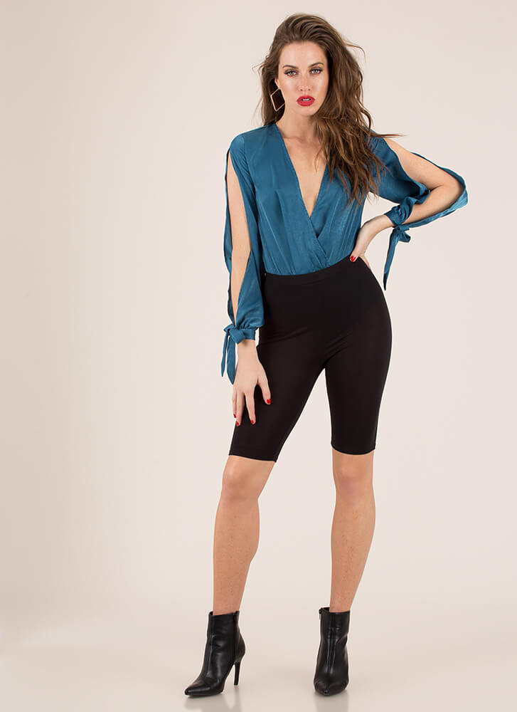 New Blouse Plunging Tie-Sleeve Bodysuit TEAL