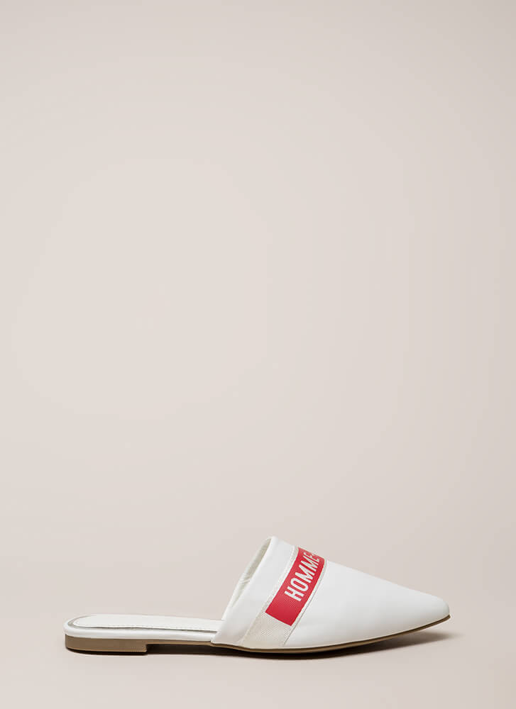Homme Et Femme Pointy Mule Flats WHITE