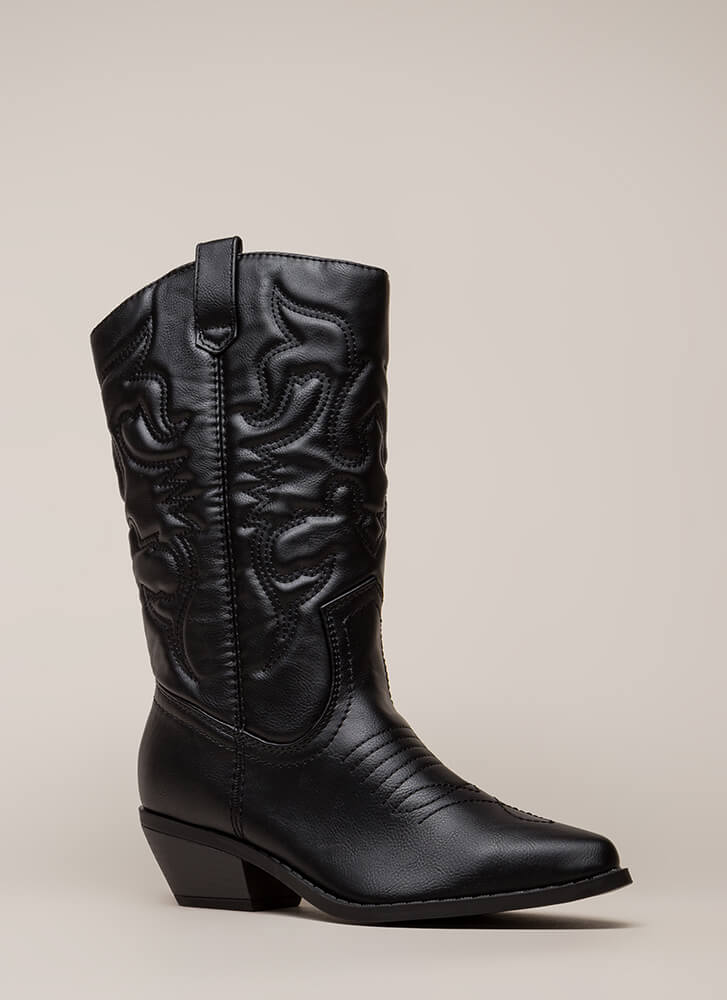 Corral Embroidered Cowgirl Boots BLACK