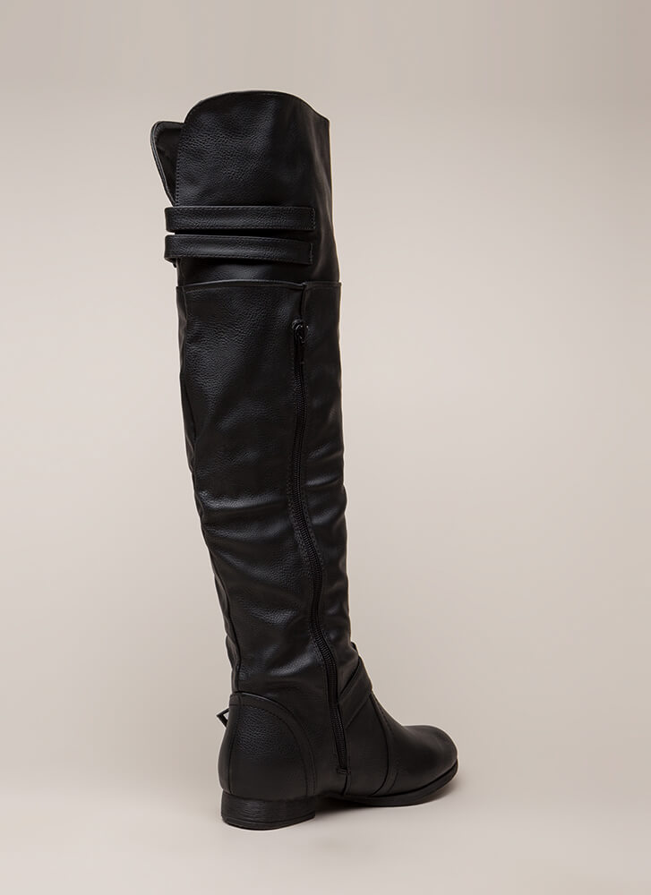 Walking Tall Strappy Thigh-High Boots BLACK