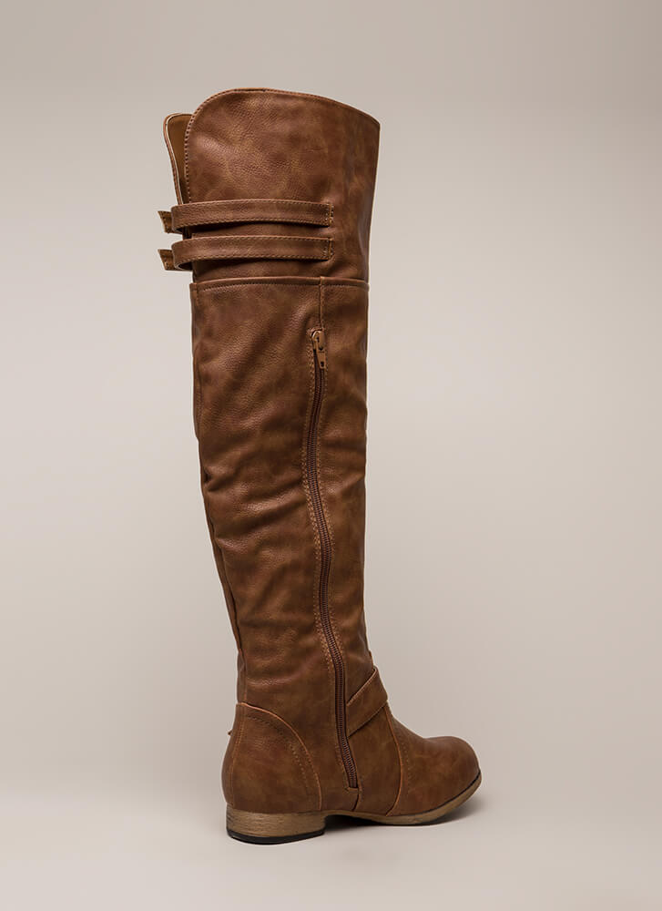Walking Tall Strappy Thigh-High Boots TAN
