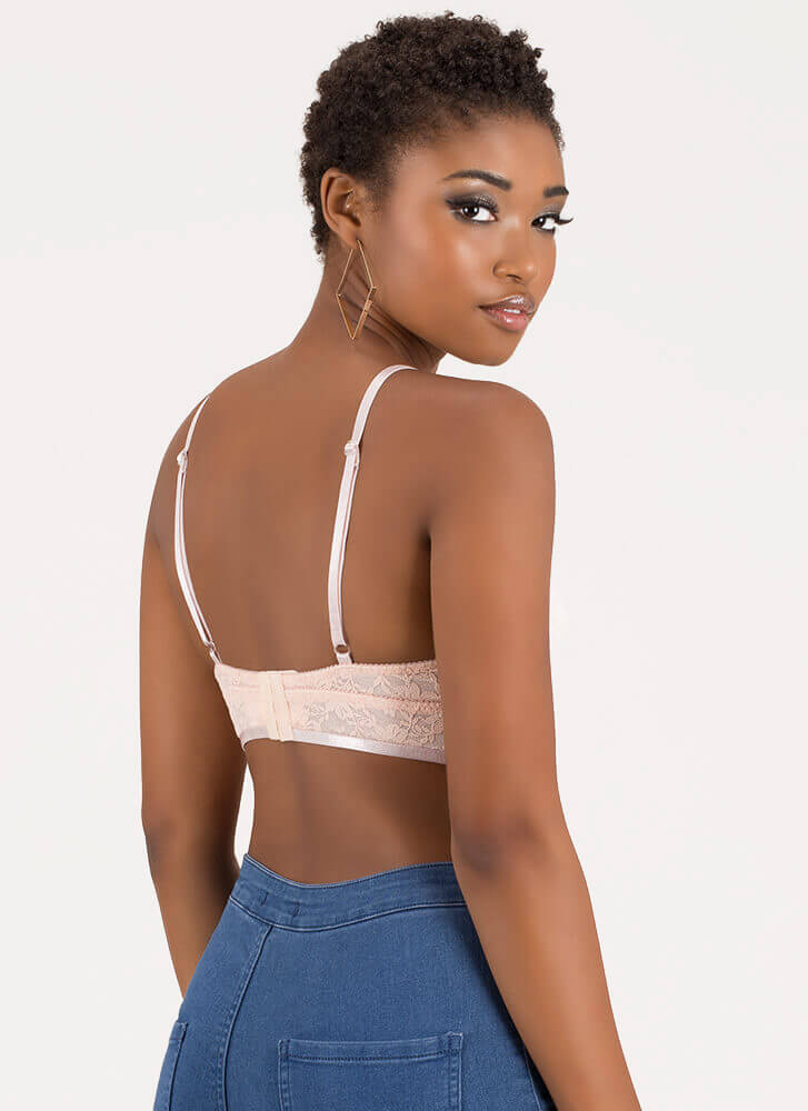 Keep Me Strappy Caged Lace Bralette BLUSH