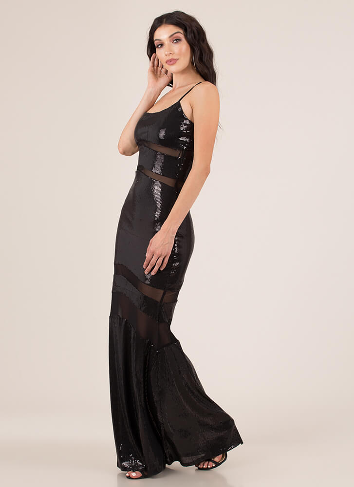 Special Sequins Mesh-Striped Gown BLACK