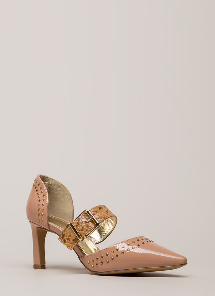 Snake Charmer Strappy Studded Heels TAUPE