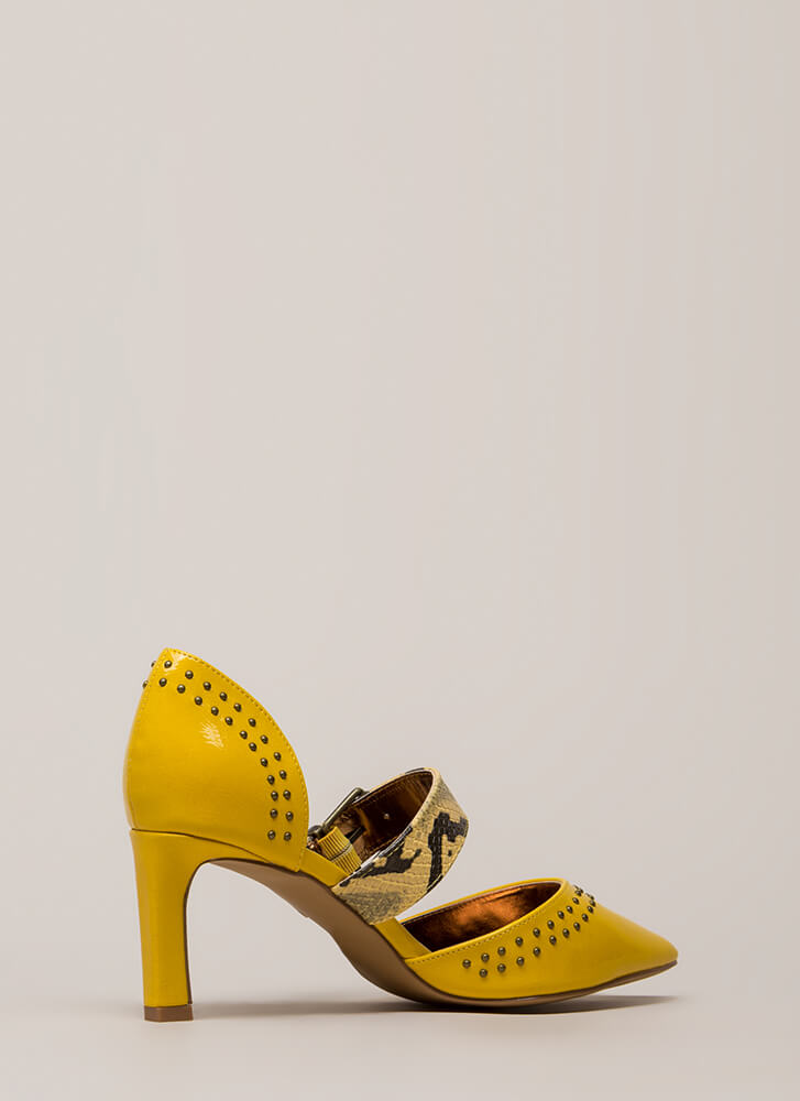 Snake Charmer Strappy Studded Heels YELLOW