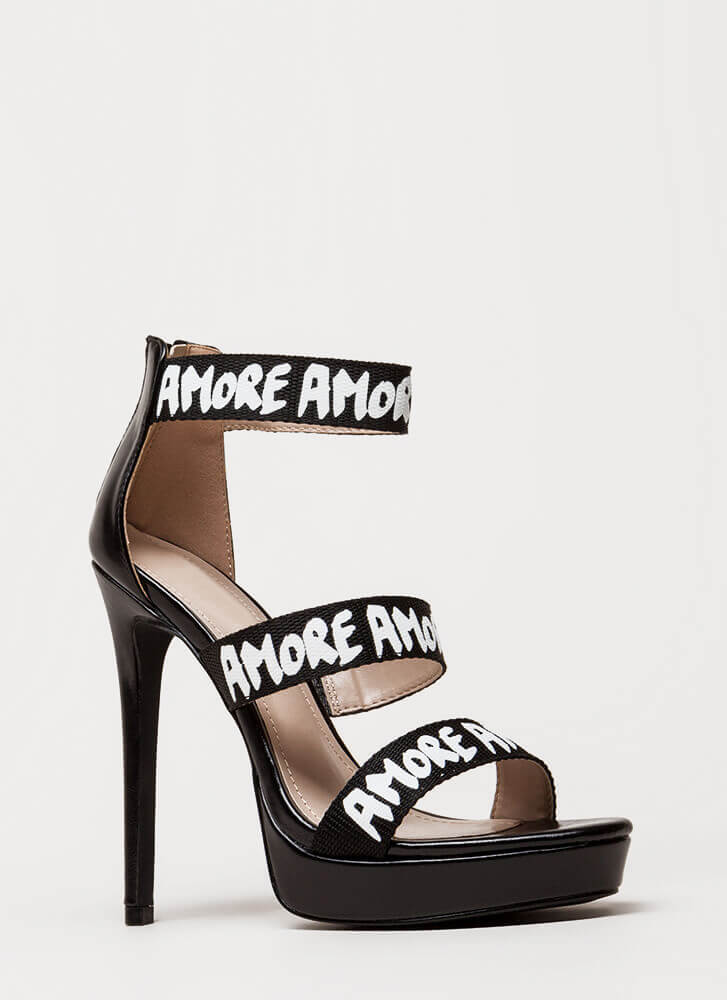 That's Amore Strappy Graphic Platforms BLACK