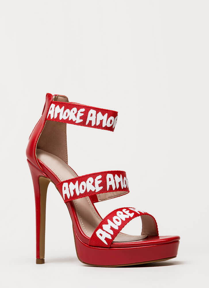 That's Amore Strappy Graphic Platforms RED