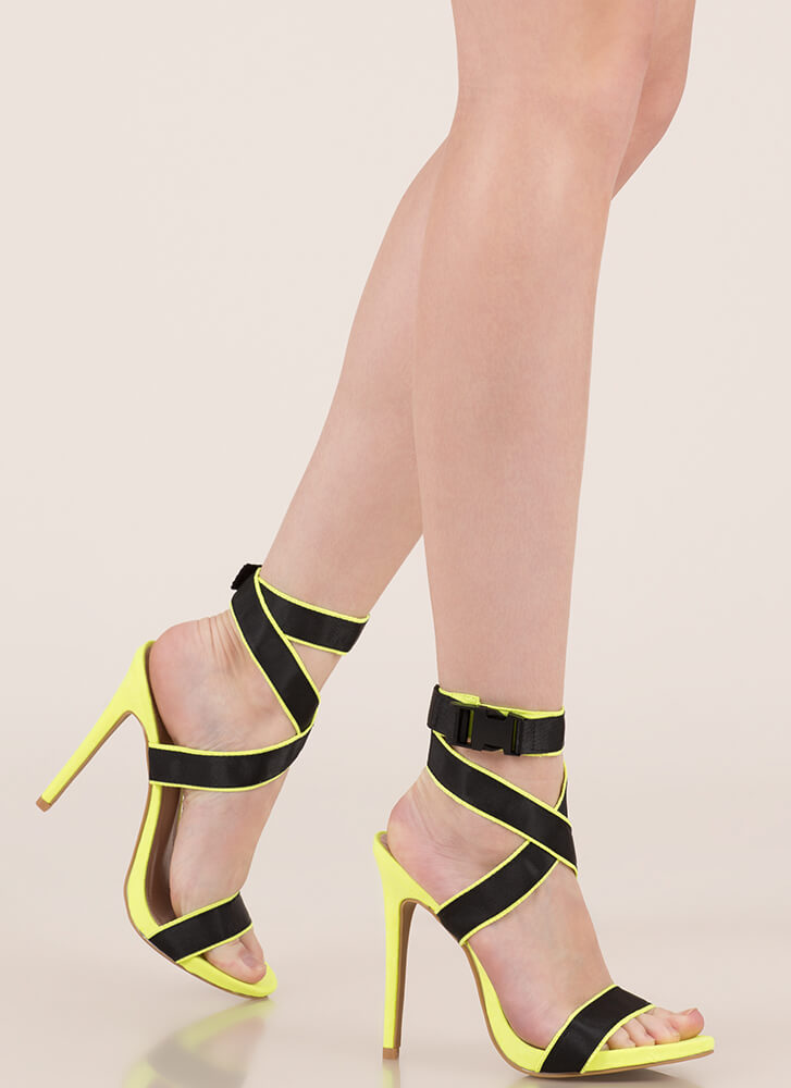 Electricity Strappy Buckled Heels GREEN