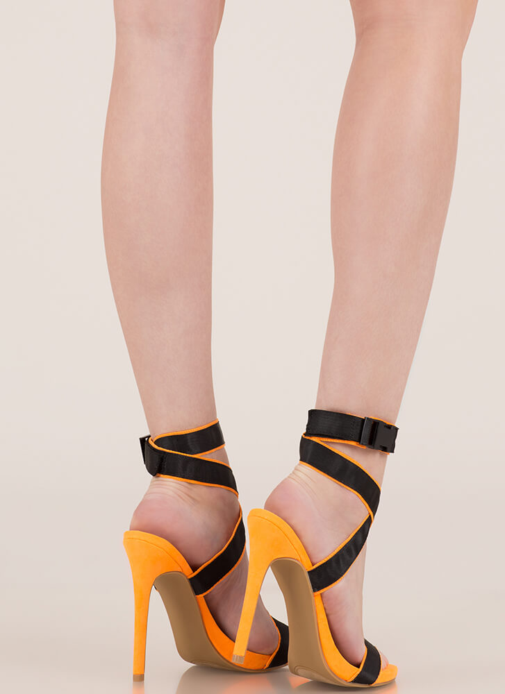 Electricity Strappy Buckled Heels ORANGE