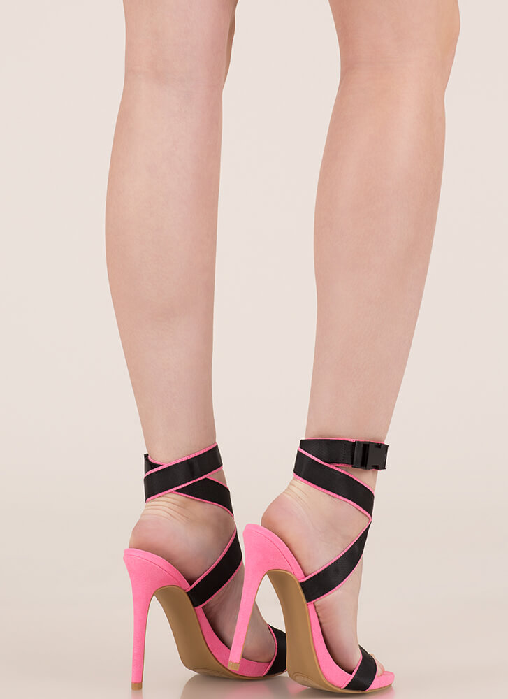 Electricity Strappy Buckled Heels PINK