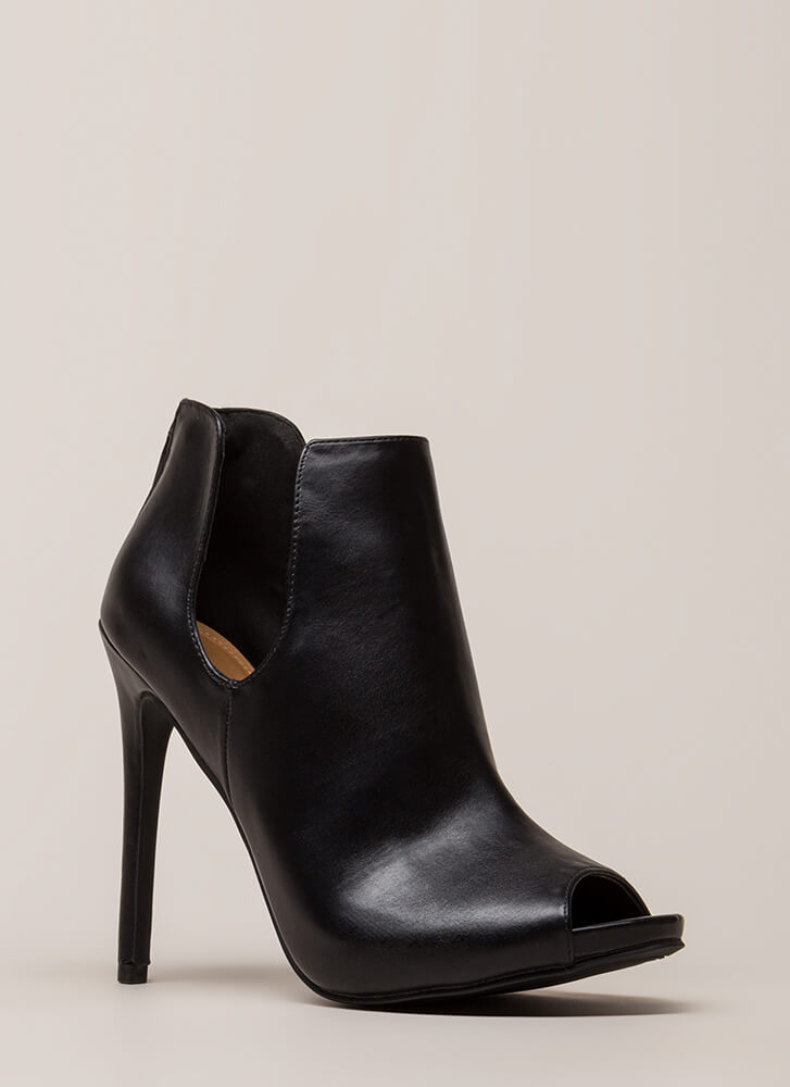 Two Sides Cut-Out Peep-Toe Booties BLACK