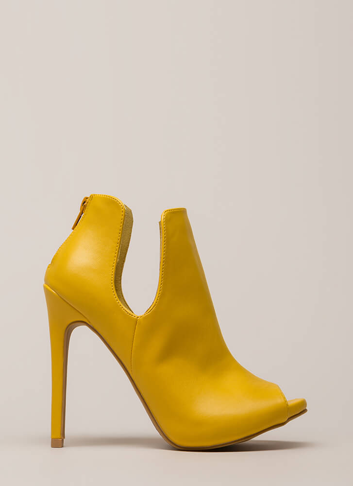 Two Sides Cut-Out Peep-Toe Heels MUSTARD