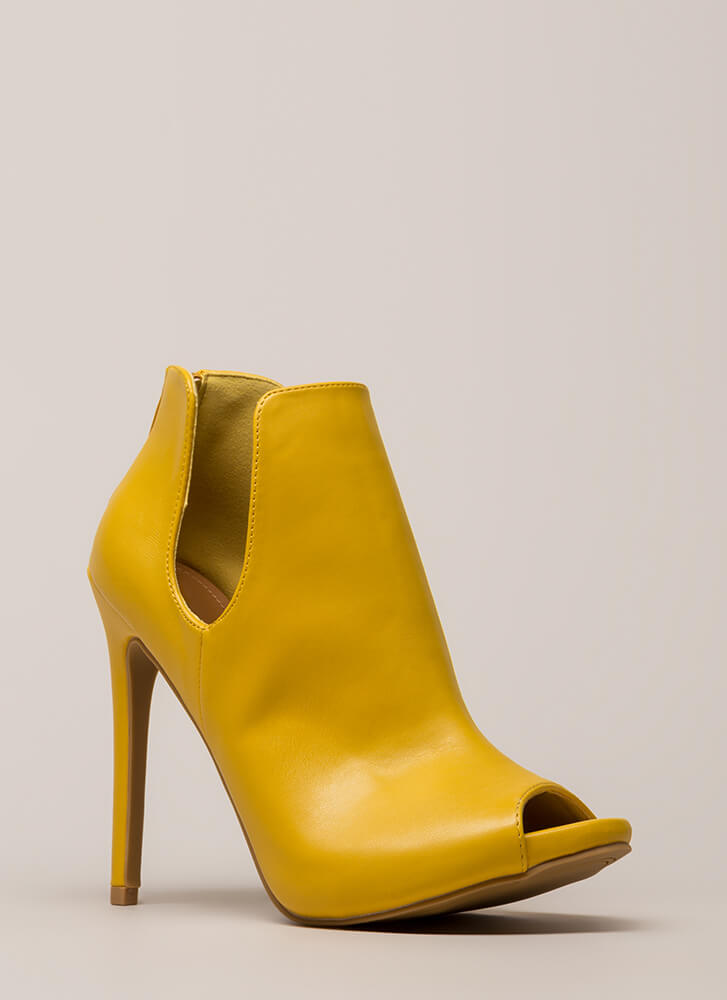 Two Sides Cut-Out Peep-Toe Booties MUSTARD