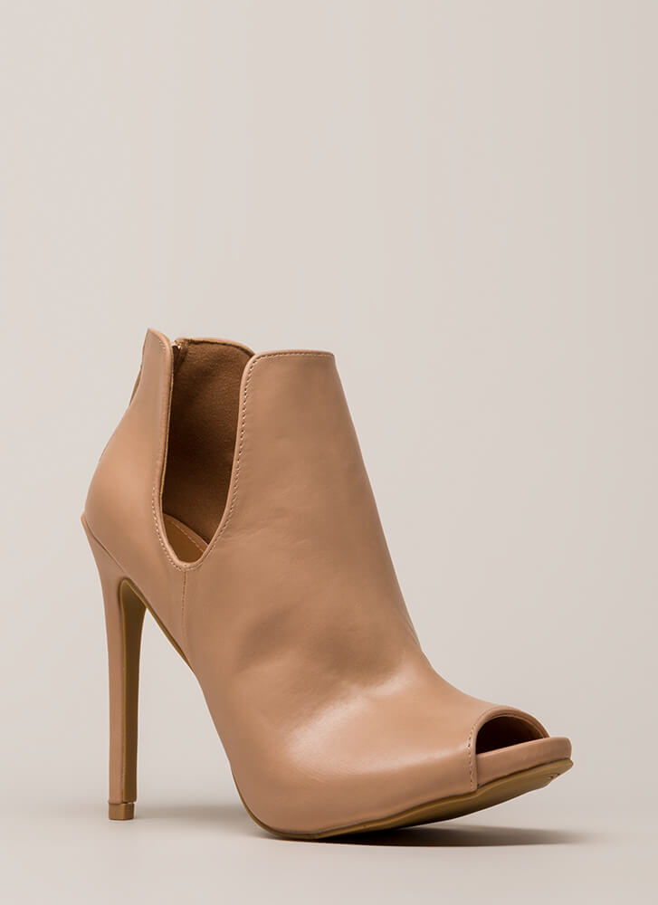 Two Sides Cut-Out Peep-Toe Booties TAUPE