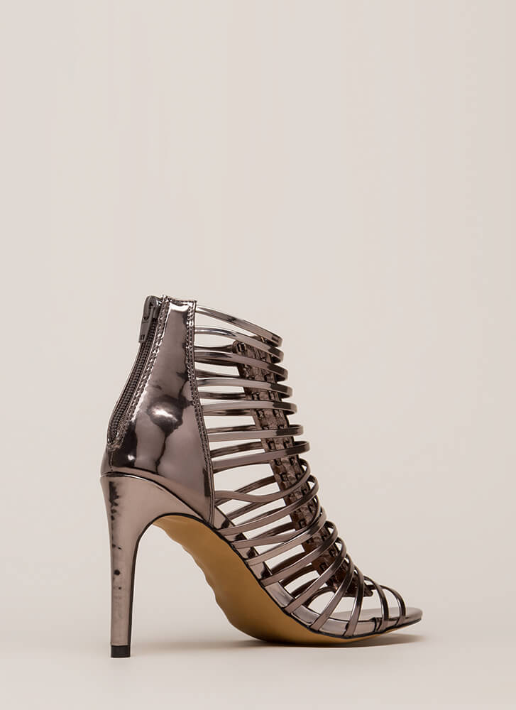 Make It Caged Strappy Metallic Heels PEWTER