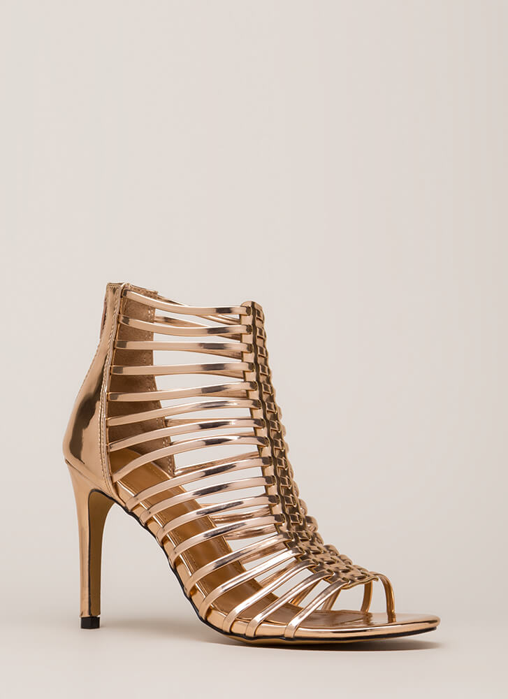 Make It Caged Strappy Metallic Heels ROSEGOLD