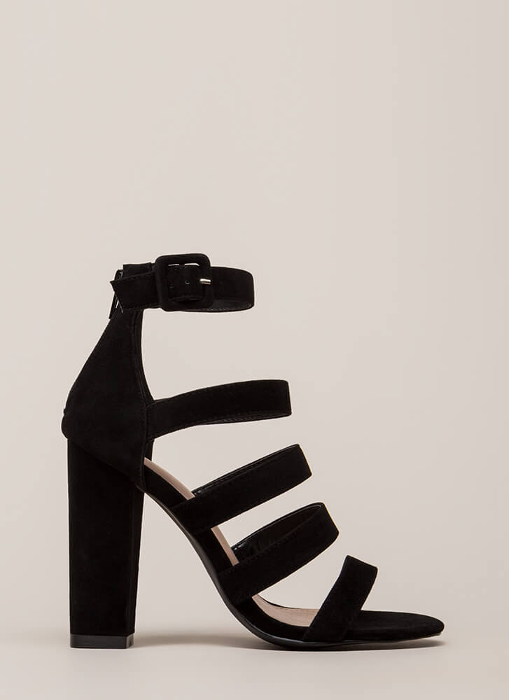 Give Me Five Chunky Strappy Heels BLACK