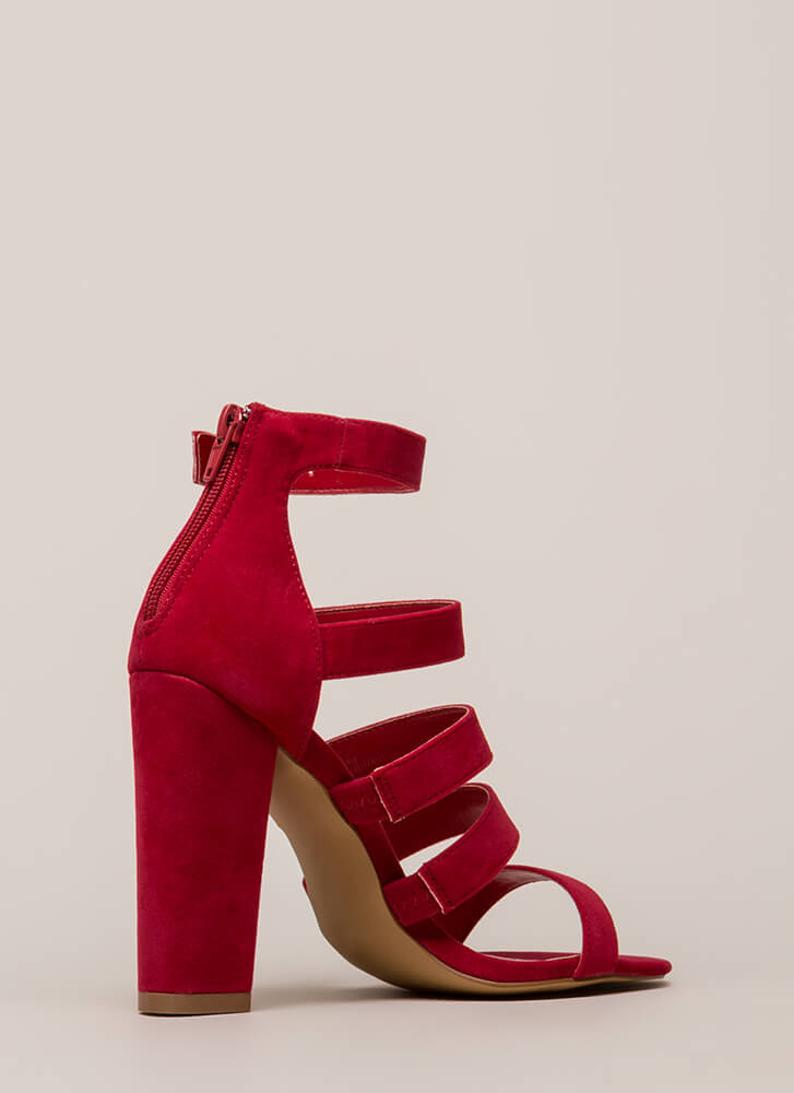 Give Me Five Chunky Strappy Heels RED