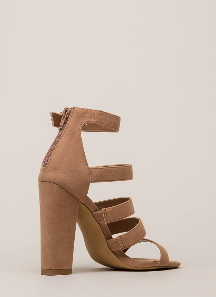 Give Me Five Chunky Strappy Heels TAUPE
