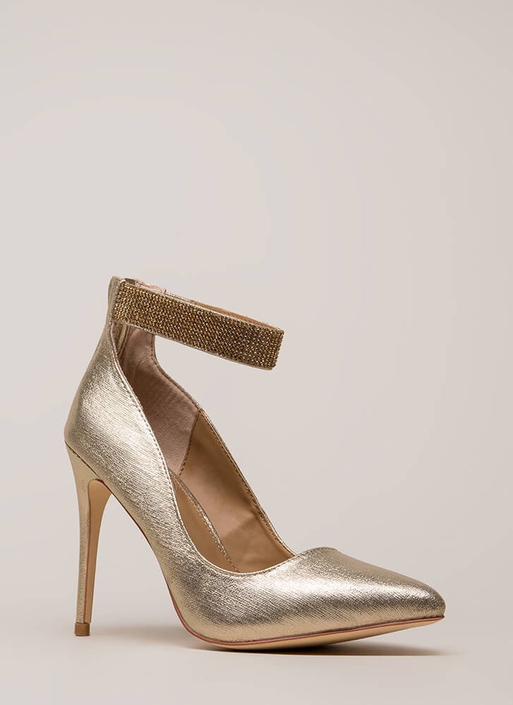 Shining Example Jewel Strap Pumps GOLD