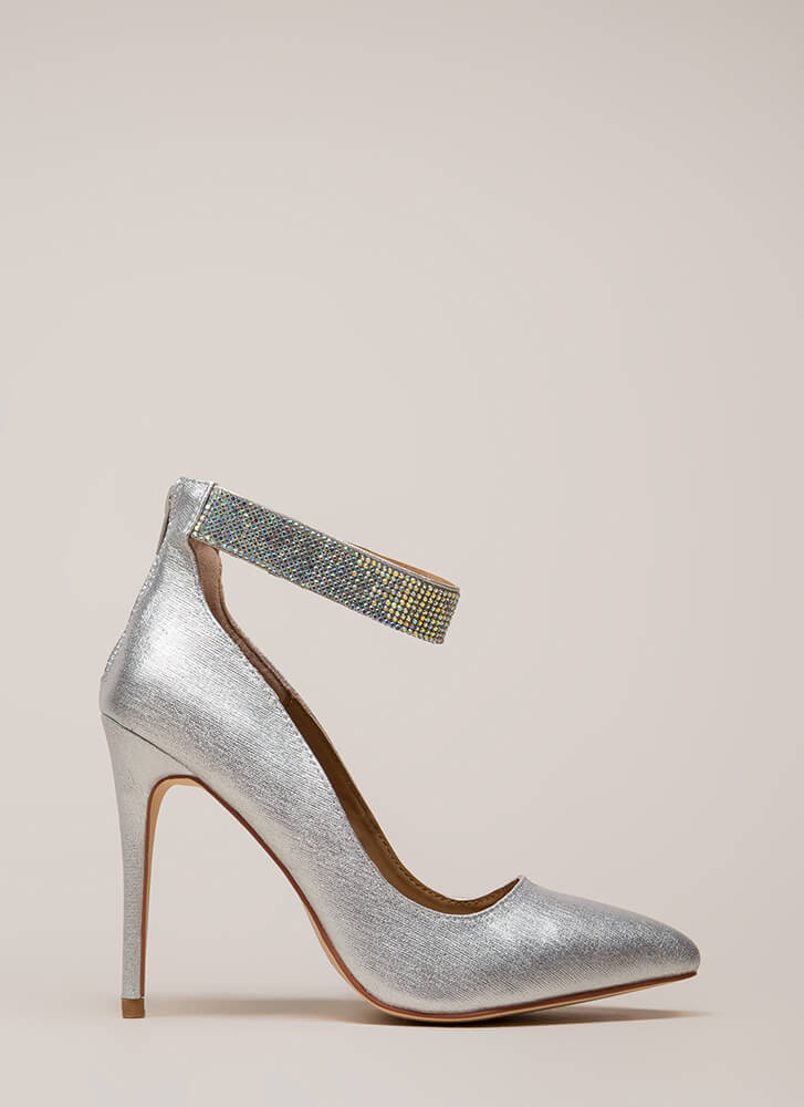 Shining Example Jewel Strap Pumps SILVER (You Saved $21)