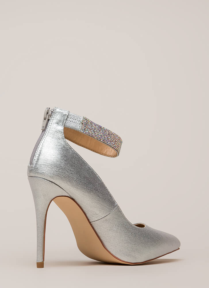 Shining Example Jewel Strap Pumps SILVER