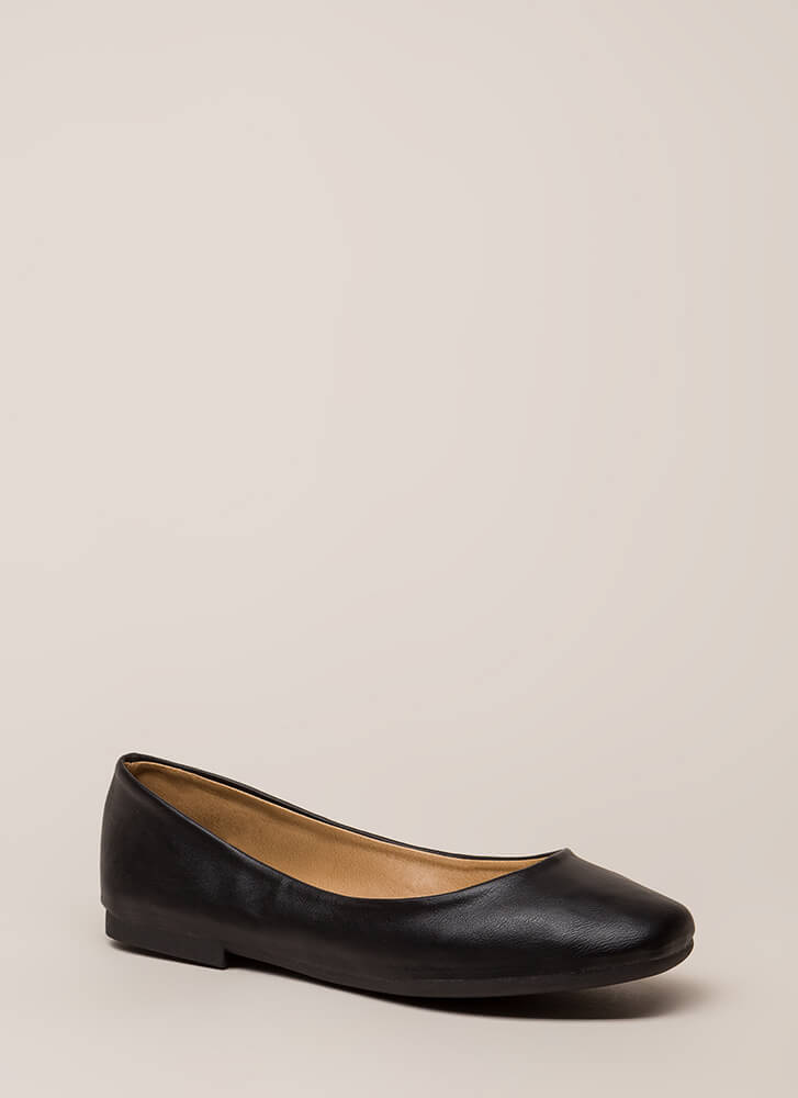 Ground Rules Faux Leather Ballet Flats BLACK