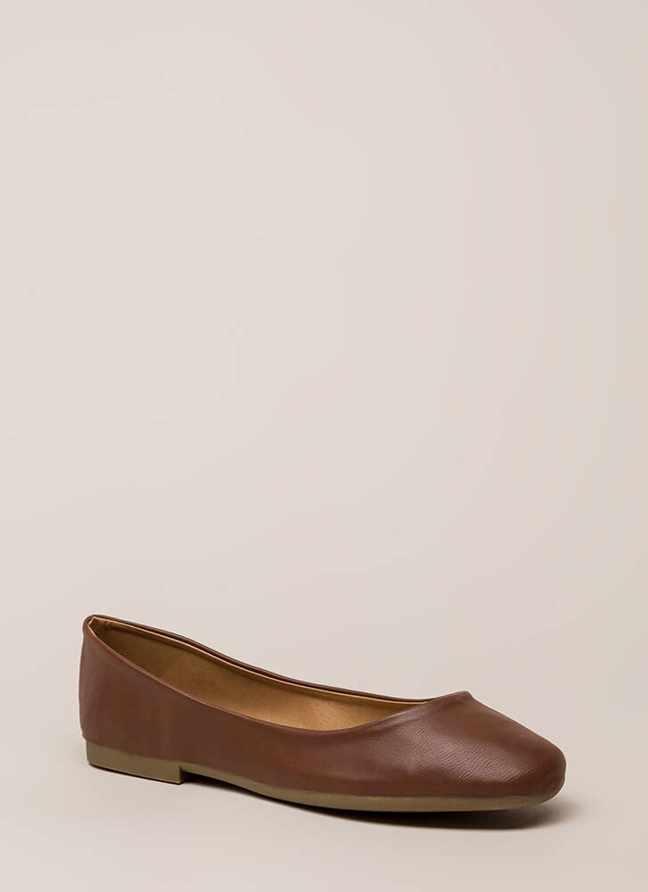 Ground Rules Faux Leather Ballet Flats CHESTNUT