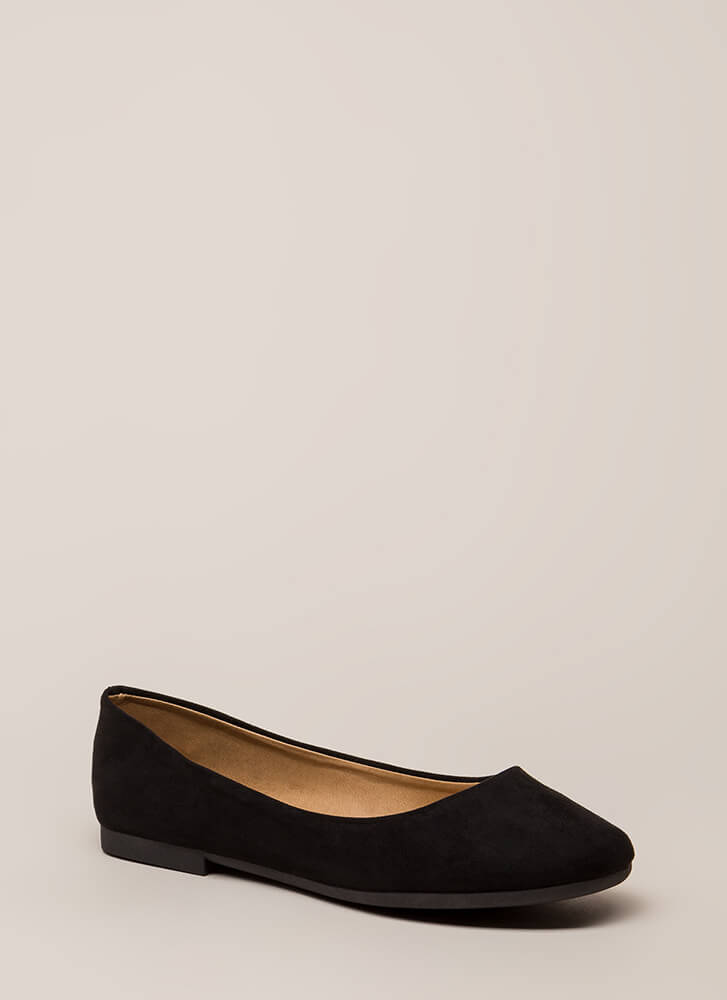 Ground Rules Faux Suede Ballet Flats BLACK