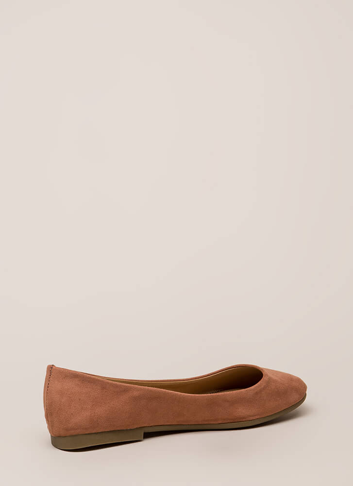 Ground Rules Faux Suede Ballet Flats MOCHA