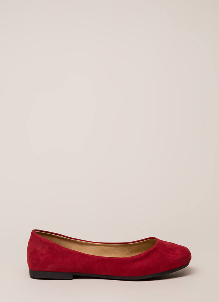 Ground Rules Faux Suede Ballet Flats RED