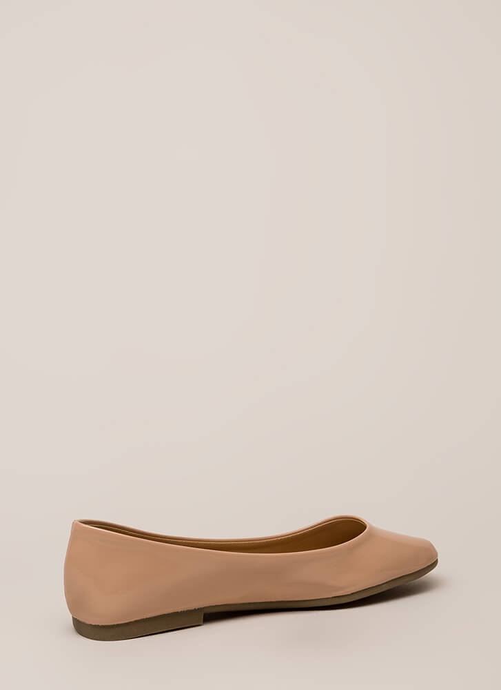 Ground Rules Faux Patent Ballet Flats NUDE
