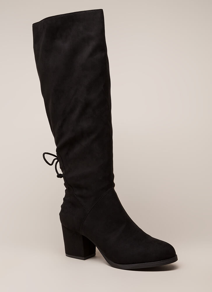 Come Back Here Chunky Knee-High Boots BLACK