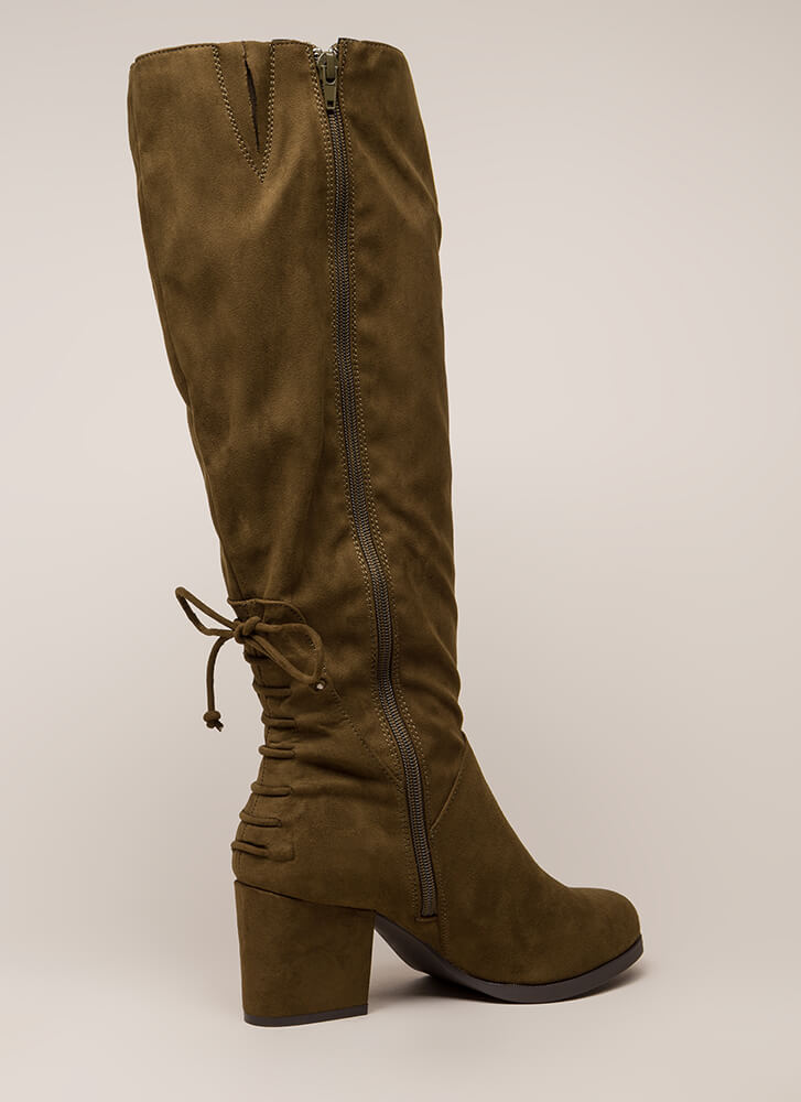 Come Back Here Chunky Knee-High Boots OLIVE