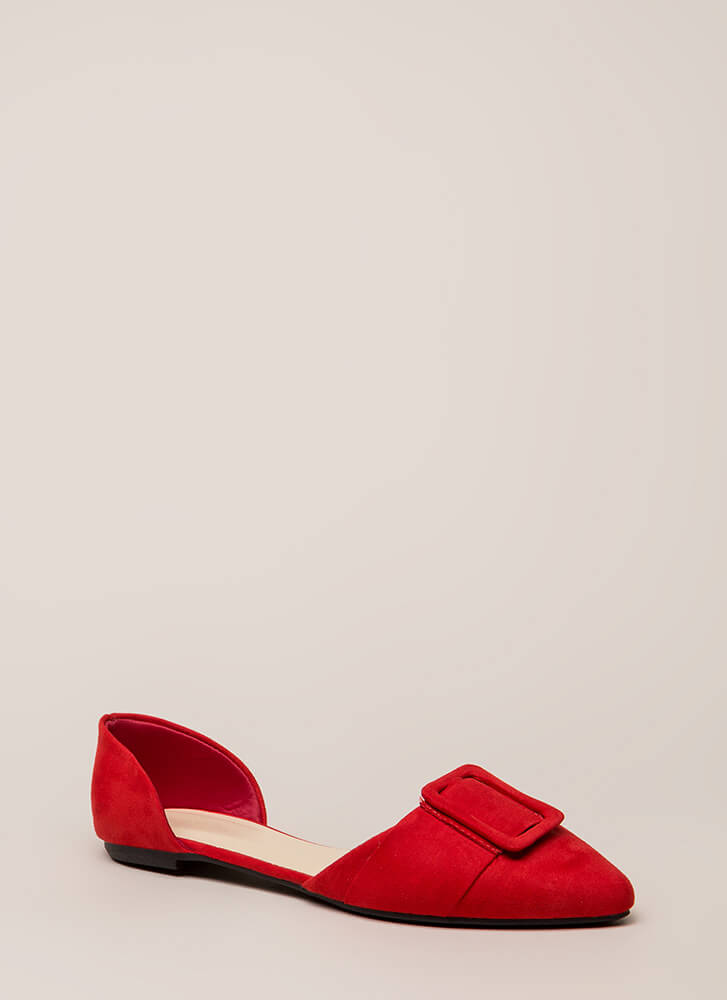 Like A Lady Buckled D'Orsay Flats RED