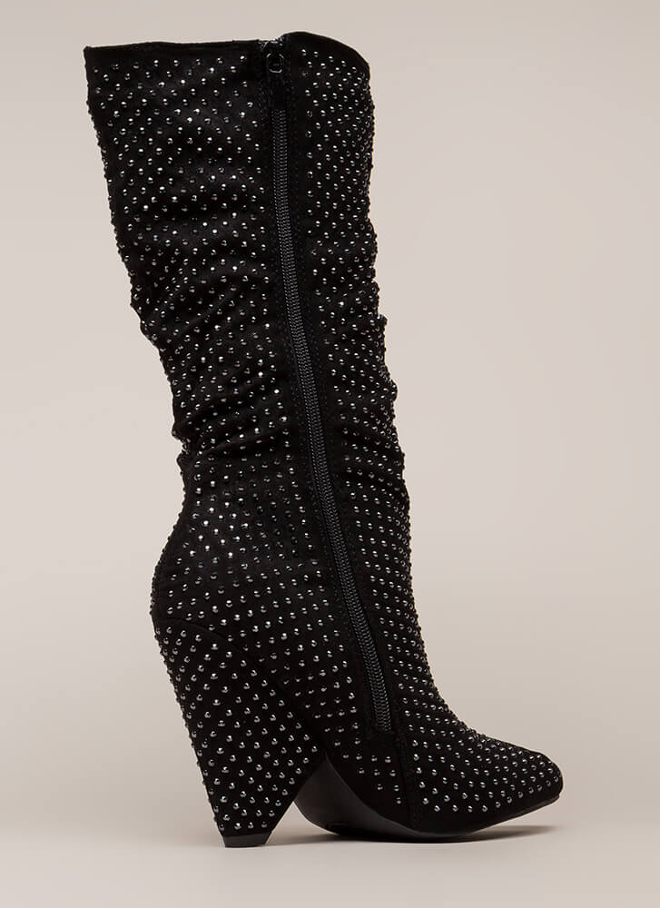 Bling It Jeweled Cone Heel Boots BLACK (Final Sale)