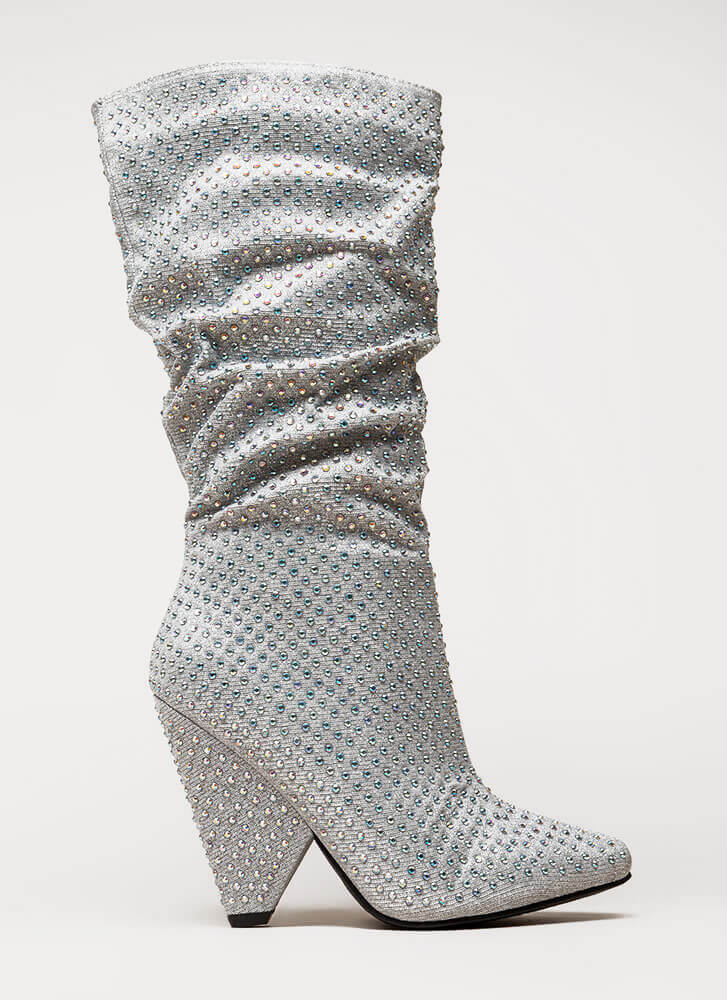 Bling It Shiny Jeweled Cone Heel Boots SILVER