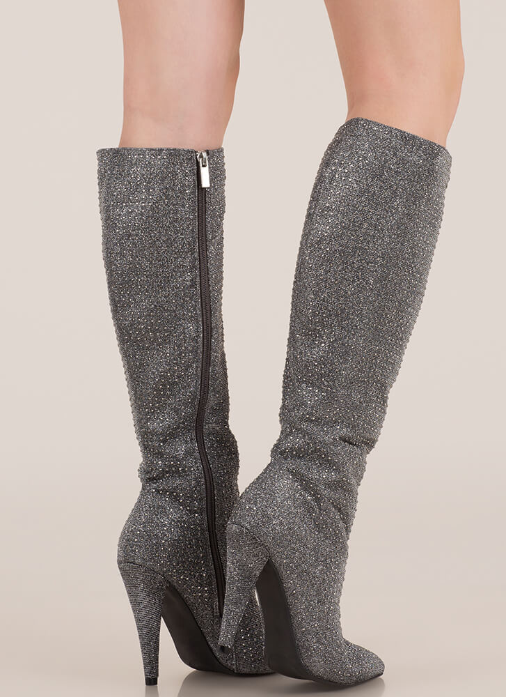 Crown Jewel Knee-High Rhinestone Boots PEWTER